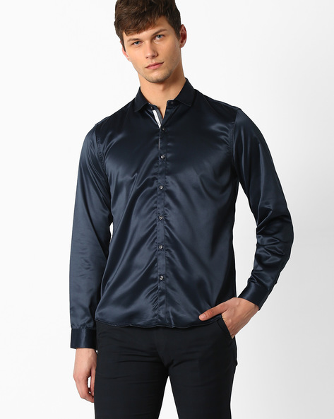 Regular Fit Formal Shirt By NETWORK ( Navy )