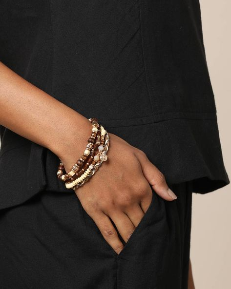 Set Of 4 Stretchable Bangles By Project Eve ( Multi )