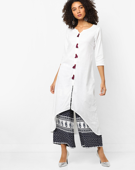 A-line Kurta With Asymmetric Hemline By ETHNIC CURRY ( White )