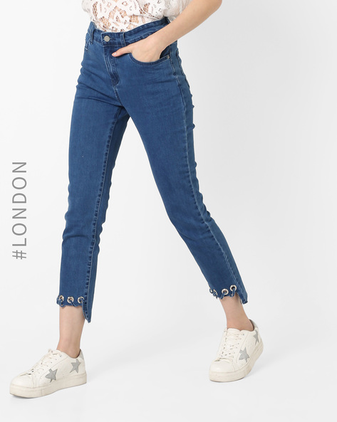 Mid-Rise Jeans With Step Hem By Glamorous ( Blue )