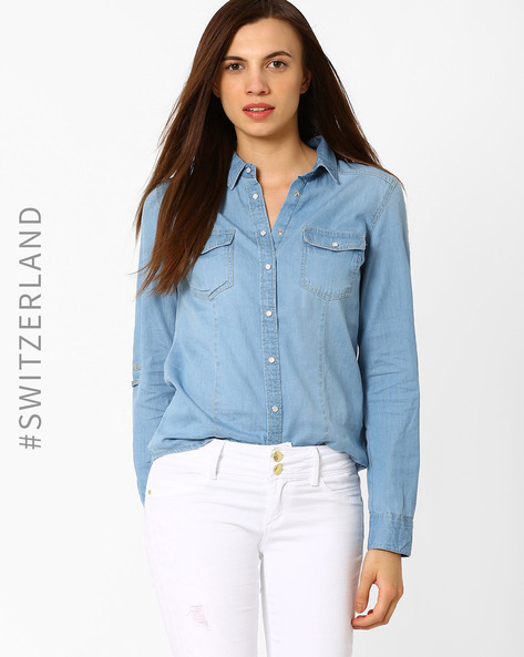 Cotton Shirt With Roll-Up Tabs By TALLY WEiJL ( Lightblue )