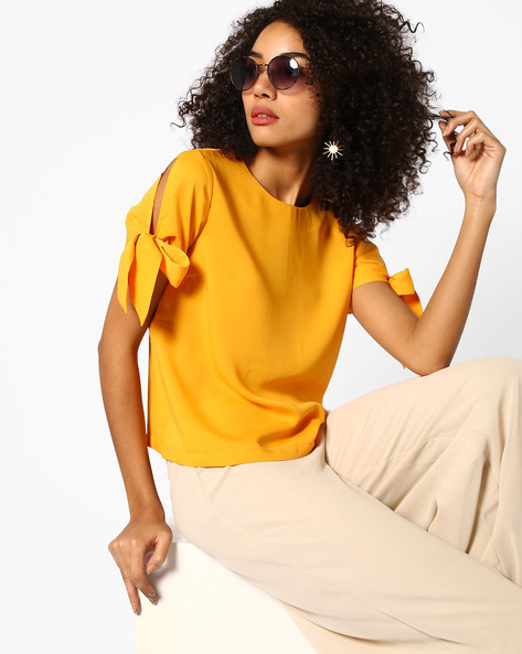 Boxy Top With Knotted Sleeves By AJIO ( Yellow )