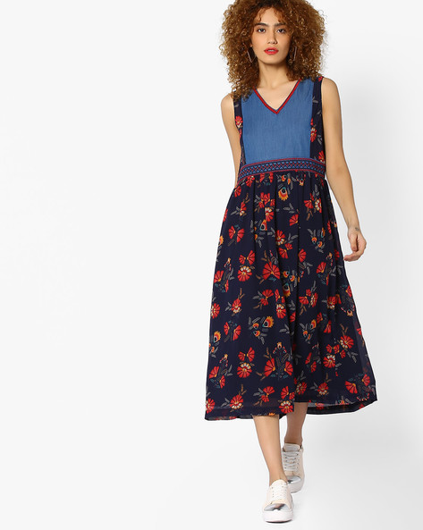 Sleeveless Printed Midi Dress By AJIO ( Navyblue )