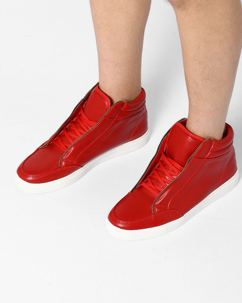 Mid-Top Lace-Up Sneakers By AJIO ( Darkred ) - 460083934014