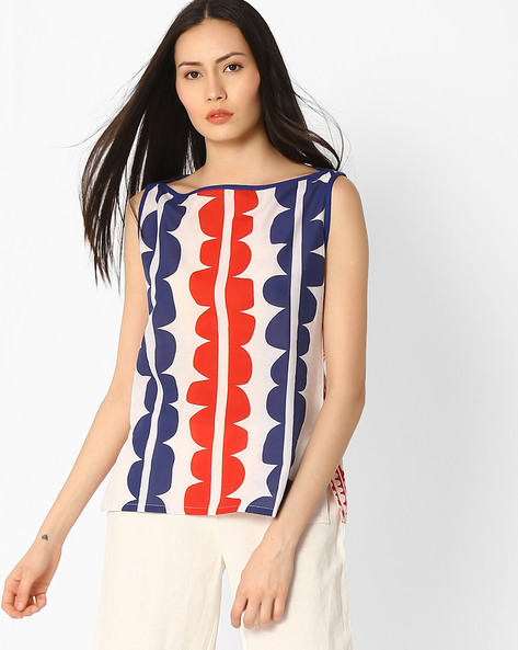 Printed Top With Vented Hemline By Jaipur Kurti ( White )