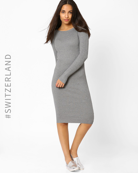 Ribbed Bodycon Dress By TALLY WEiJL ( Grey )