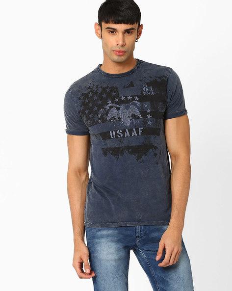 Printed Cotton Slim Fit T-shirt By Jack & Jones ( Indigo )