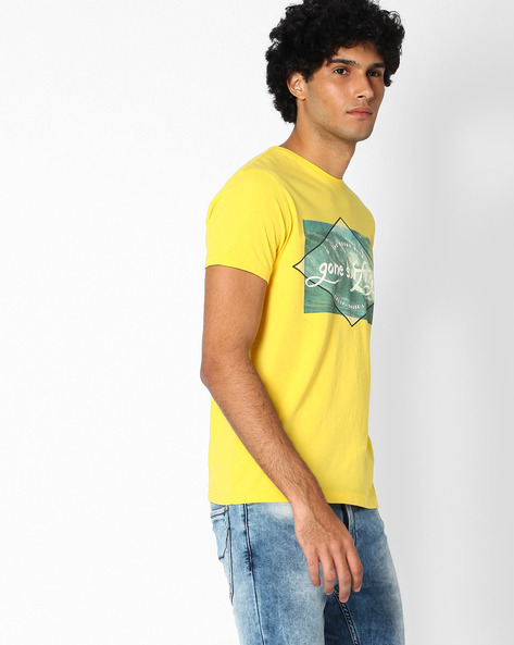 Graphic Print Slim Fit T-shirt By Lee ( Yellow )