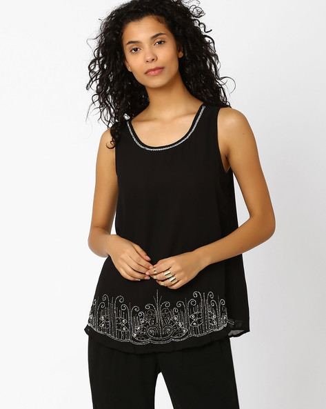 Sleeveless Top With Embellishments By Oxolloxo ( Black )