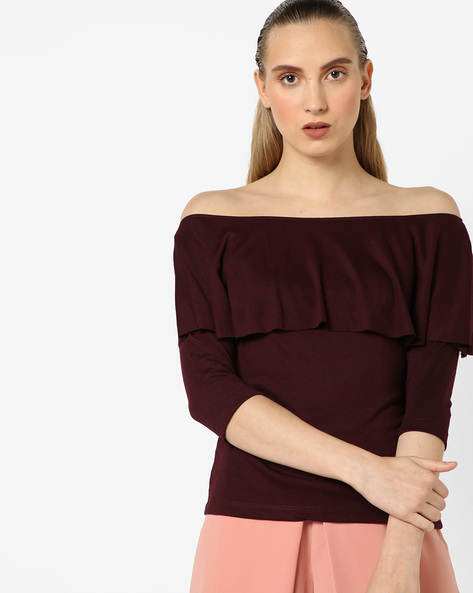 Off-Shoulder Top With Ruffled Detail By CODE By Lifestyle ( Wine )