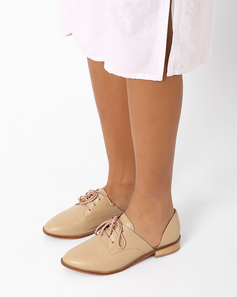 Genuine Leather Cut-Out Derby Shoes By Inara ( Beige )