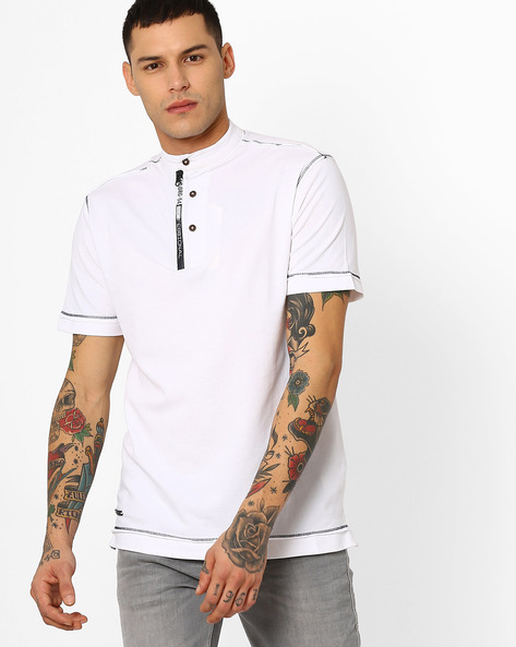 Cotton T-shirt With Band Collar By Fort Collins ( White )