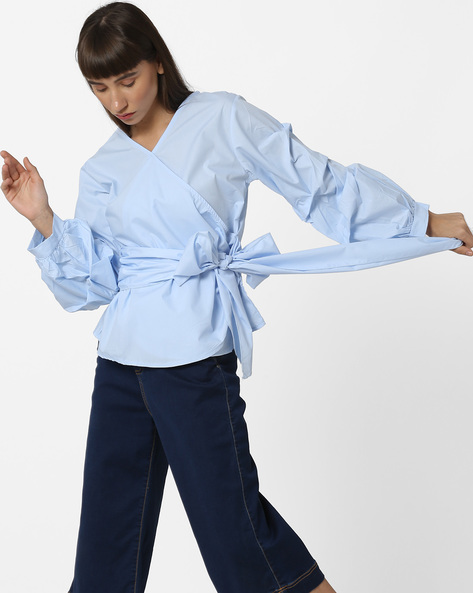 V-neck Wrap Top With Puffed Sleeves By Ginger By Lifestyle ( Skyblue )