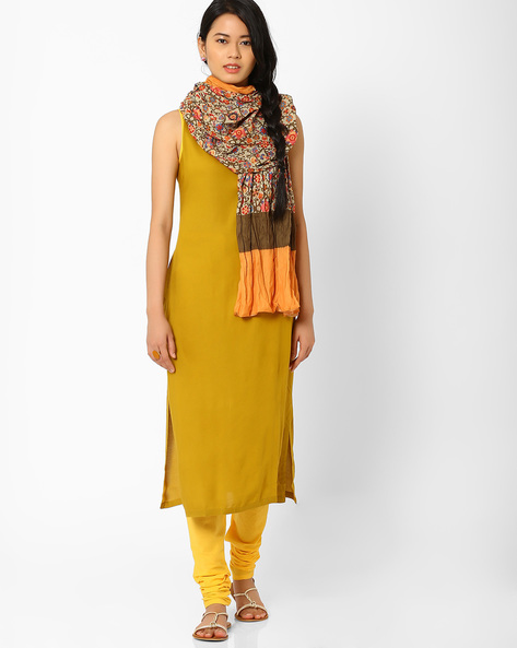 Sleeveless Churidar Kurta With Dupatta By AJIO ( Green )