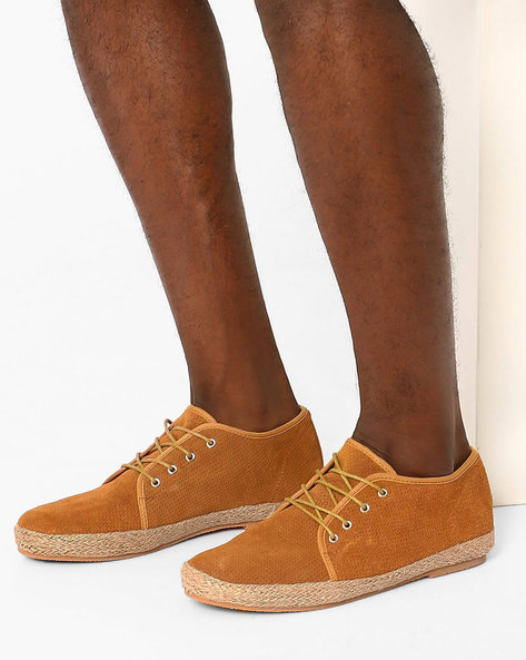 Suede Espadrille Lace-Ups By FAMOZI ( Brown )