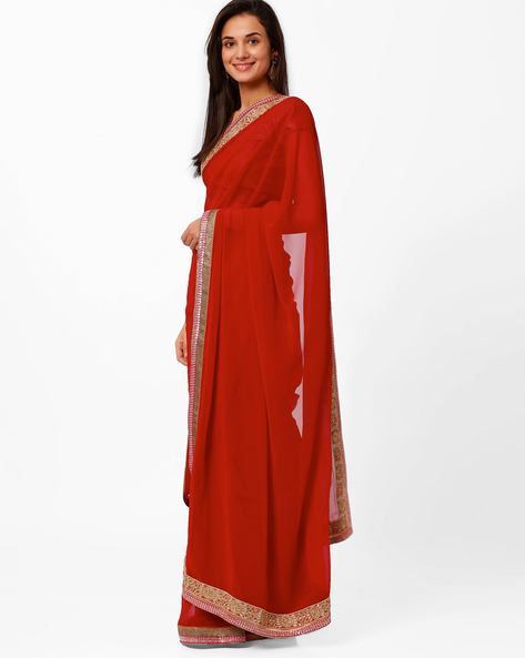 Embroidered Saree By Akoya ( Red )