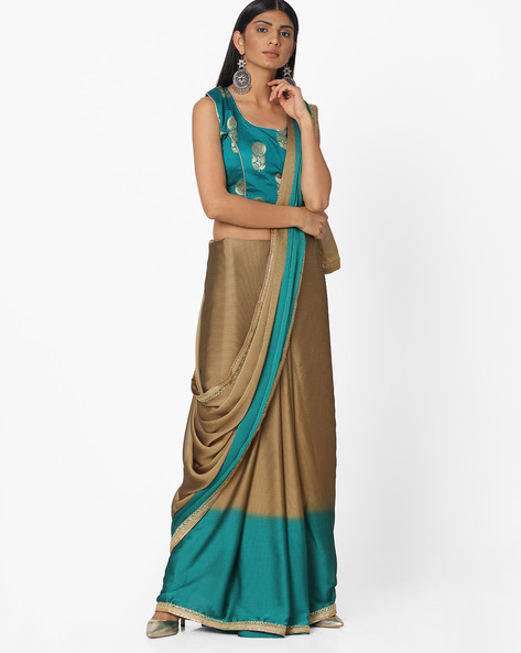 Colourblock Embroidered Chiffon Saree By Majestic Silk ( Blue )