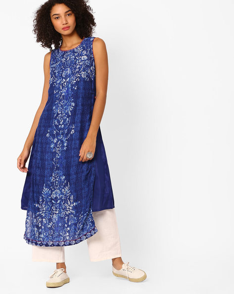 Floral Print Layered Dress By Biba ( Indigo )