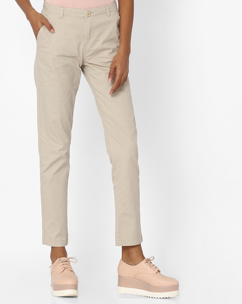 Mid-Rise Flat-Front Chinos By Pink Woman ( Beige )