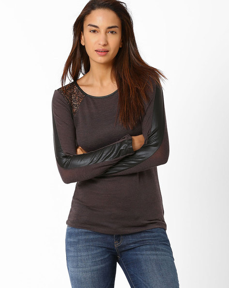 Knitted Top By SF Jeans By Pantaloons ( Grey )
