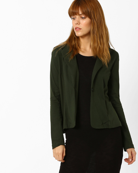 Cotton Jacket With Notched Lapel By Style Quotient By Noi ( Green )