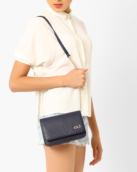 Quilted Sling Bag By E2O ( White )