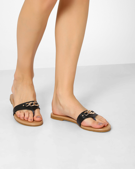 Faux Leather Flats With Metal Accent By AJIO ( Black )