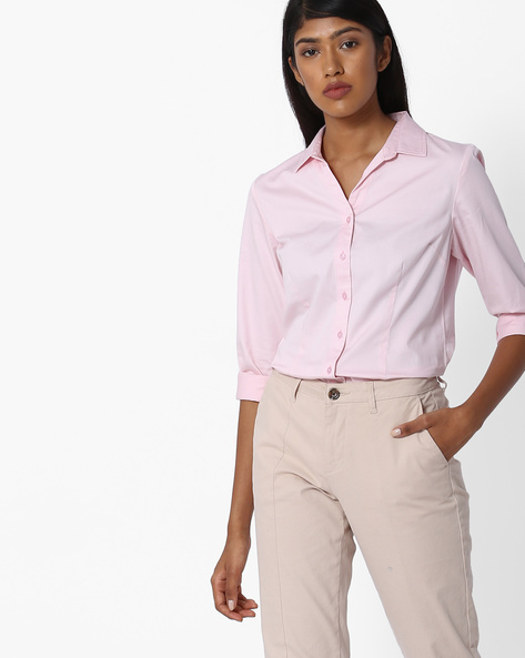 Shirt With Spread Collar By Project Eve WW Work ( Pink )