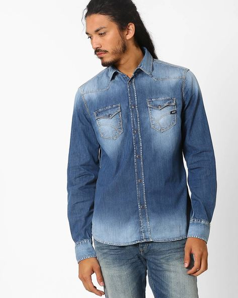 Lightly Washed Slim Fit Denim Shirt By GAS ( Wy99 )