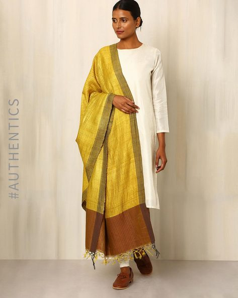 Handwoven Pure Tussar Silk Dupatta By Indie Picks ( Yellow )