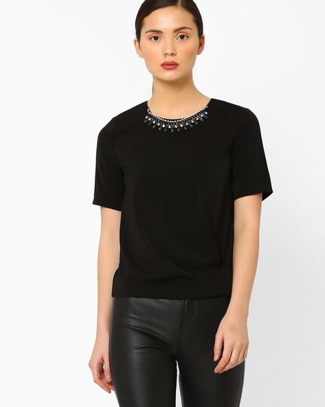 Pleated Top With Embellishments By AJIO ( Black )