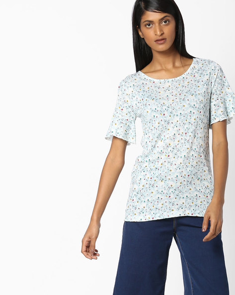 Printed T-shirt With Drop-Shoulders By FIG ( Ltblue )