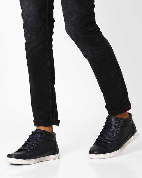 Mid-Top Perforated Sneakers By AJIO ( Navy )