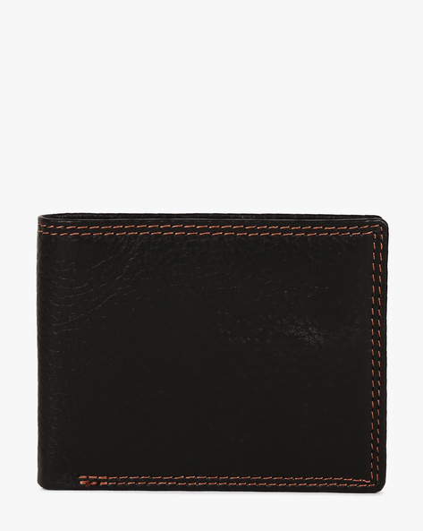 Genuine Leather Twofold Wallet By TEAKWOOD LEATHERS ( Black )
