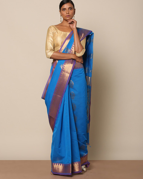 Pure Cotton Mercerised Uppada-Style Saree By Indie Picks ( Blue )