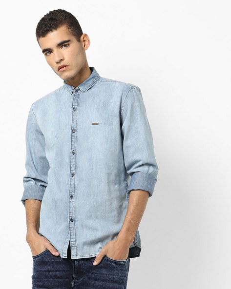 Lightly Washed Slim Fit Denim Shirt By WRANGLER ( Blue )