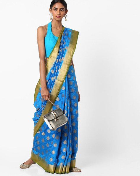 Banarasi Art Silk Saree With Zari Border By Viva N Diva ( Blue )