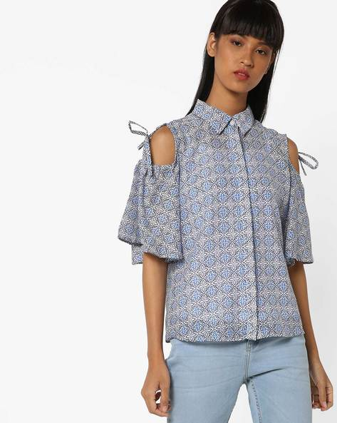 Floral Print Cold-Shoulder Shirt By Oxolloxo ( Blue )