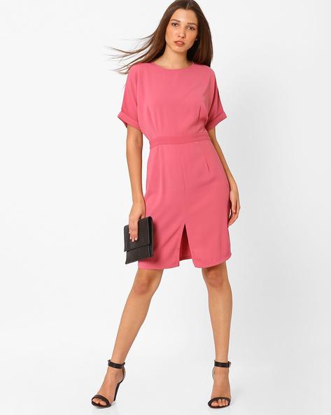 Sheath Dress With Upturned Hems By AJIO ( Pink )