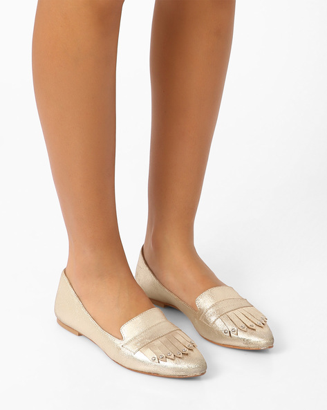 Genuine Leather Flat Shoes With Tassels By Inara ( Gold )
