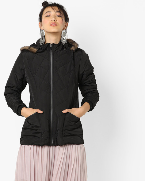 Hooded Quilted Jacket By Fort Collins ( Black )