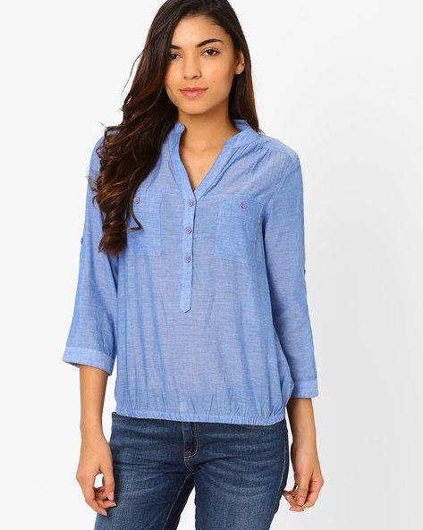 Shirt With Roll-Up Sleeves By FIG ( Blue )