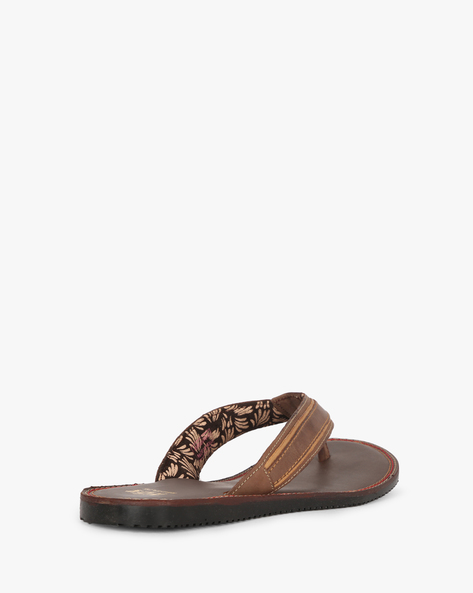 Genuine Leather Thong-Style Flip-Flops By RED TAPE ( Tan )