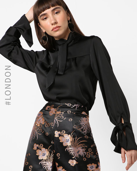 High-Neck Top With Tie-Ups By Closet London ( Black )