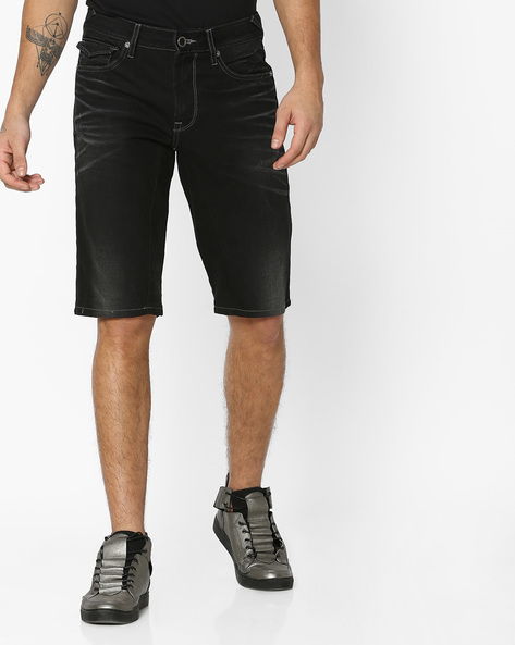 Lightly Washed Shorts With Whiskers By VOI JEANS ( Black )