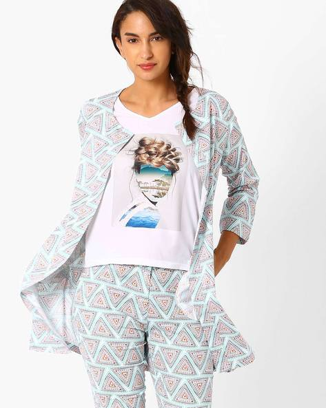 Printed Open-Front Jacket By AJIO ( Teal )