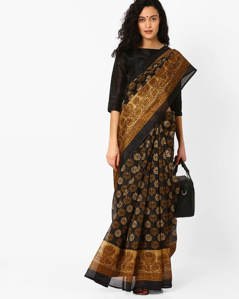 Printed Saree With Contrast Border By Hitansh ( Black )