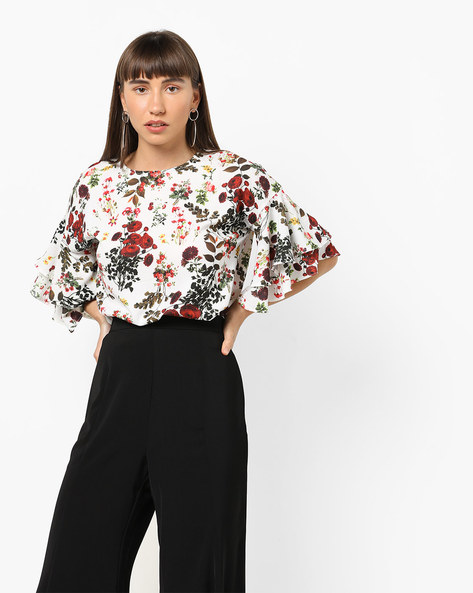 Floral Print Top With Tiered Sleeves By AJIO ( White )