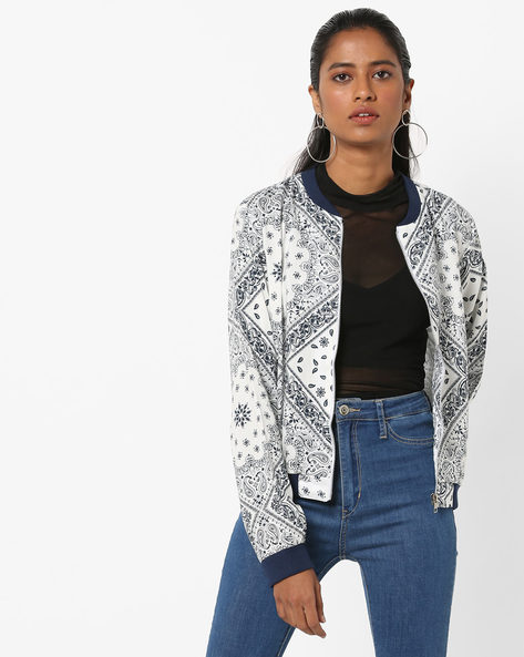 Printed Jacket With Zip Closure By AJIO ( White )