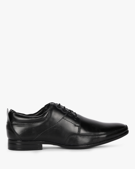 Lace-Up Formal Shoes With Stacked Heels By Buckle Up ( Black )